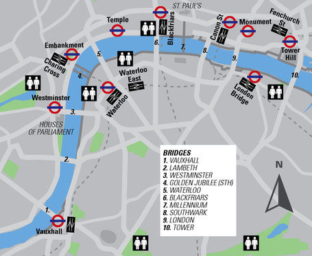 Map London Bridge.London Running Hotspot Bridges Runner S Guide To London